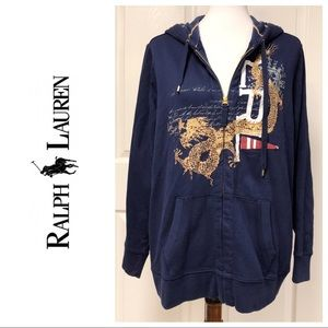 RALPH LAUREN GRAGON GRAPHIC NAVY ZIP UP SWEATSHIRT